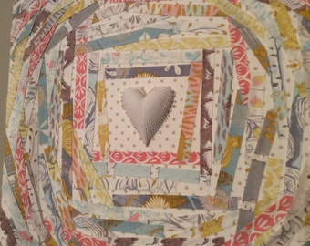 Fabric Collage with Porcelain heart