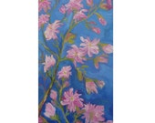 Original Oil Painting Spring Floral Dyptich, Star Magnolia Branch,Pink Flowers, Blue and Green, Shirin Mackeson