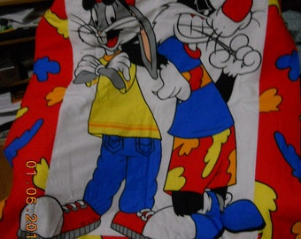 "Bugs Bunny+Sylvester Blanket-Throw 44""x 35"" Hand Made **New**"