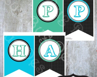 INSTANT DOWNLOAD- Printable Trampoline Happy Birthday Banner-Printables by Luv Bug Design