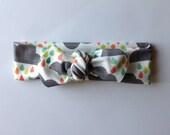 Organic baby knot headband- rain clouds- colorful rain
