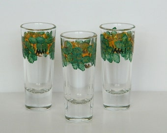 Hand Stamped Maile Leaf and Ilima Flower Lei Shot Glass