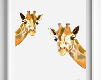 Giraffe Art Print - Giraffes  - Giraffe Painting - Nursery Art - Giraffe Nursery - Nursery Room Decor - Baby Room - Giraffe Baby