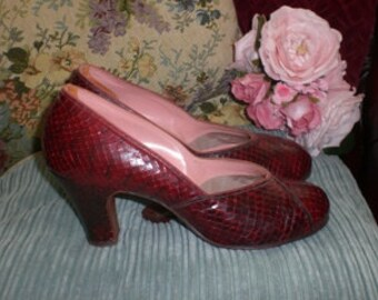 1940s Red Snakeskin Shoes - SALE