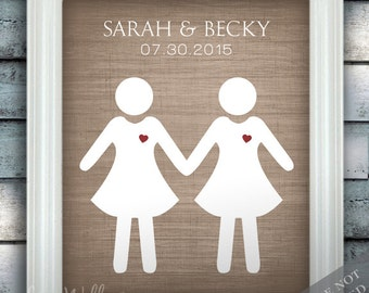 Bride Loves Bride - Gay Custom Wedding Name Date Print - Personalized Wedding Gift - Engagement Present - Unframed