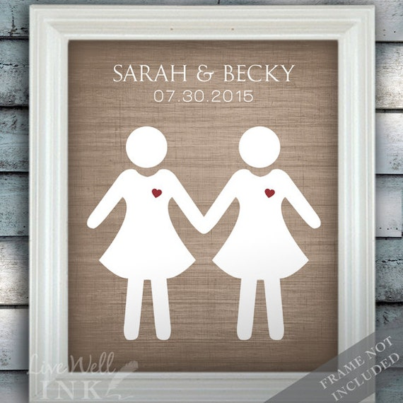 Bride Loves Bride - Gay Custom Wedding Name Date Print - Personalized Wedding Gift - Engagement Present - Unframed