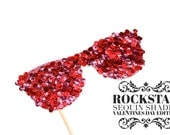 Photo Booth Props - Rockstar Sequin Glitter Sunglasses - VALENTINES DAY EDITION - Birthdays, Weddings, Parties - Photobooth Props