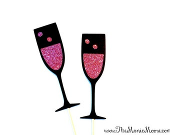 Photo Booth Props - Set of 2 Pink Champagne Glasses - GLITTER Photobooth Prop