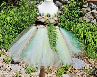 Nature Colors Ivory Gold Green Fern Flower Girls Empire Waist Tutu Dress from Baby To Girls Sizes