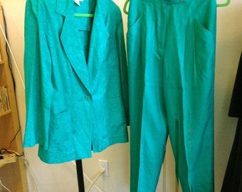 Dior pantsuit blazer pants Separates size 8 jacket size 10 pants emerald green floral figured jacket