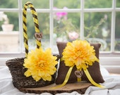 Yellow Flower Ring Bearer Brown Pillow & Rustic Flower Girl Basket over 10 different flowers and 35 ribbon to select from