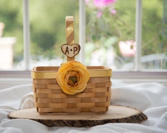 Rustic Personalized Wood Squared basket over 60 flowers to select from hand engraved wood heart with initials.