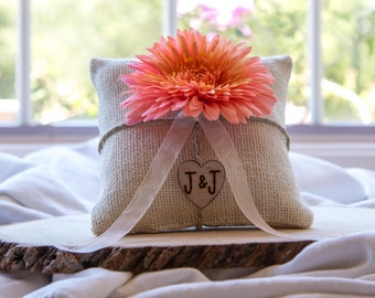 Coral flower custom ivory burlap ring bearer pillow shabby chic with engraved heart  initials... many more colors available