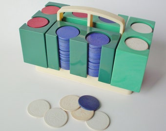 Dennison Modular Poker Chip Caddy with Large Set Of Noisless Unbreakable Poker Chips