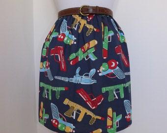 One of a kind handmade high waisted summer skirt made with comic book gun pistol blue fabric
