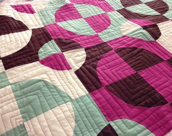 ORGANIC QUILT - Raspberry Pie Circles Quilt - Hand Dyed Organic Cotton Quilt