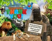 Jungle Thank you Card, Safari Birthday Party, Elephant Thank you note