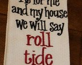 One University of Alabama Crimson Tide monogrammed/appliqued kitchen towel/dish cloth-tailgating-shower-hostess gift-Roll Tide-Christmas