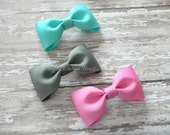 "Tuxedo Hair Bows - YOU PICK SET -  3"" Bow Tie Bows - Solid Bows - Basic Bows - 108 Colors - Set of 3, 4, 6, 10"