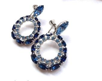 Blue Rhinestone Dangle Drop Earrings Retro Glam Fashion Jewelry