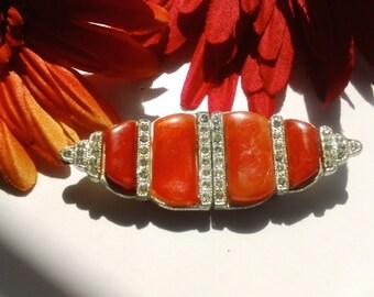 Art Deco Rhinestone & Orange Belt Buckle Vintage Plastic Glamour Fashion Accessory