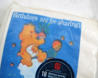 Carlton Cards Vintage Care Bear Beverage Napkins (pkg of 18) / Vintage new NOS children's party napkins / Care Bear napkins