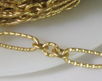 2 Ft 10x4mm Matte Gold-Plated Dainty Textured Oval Link Chain Ch243