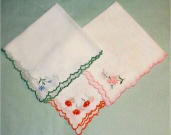 3 Vintage Embroidered Hankies