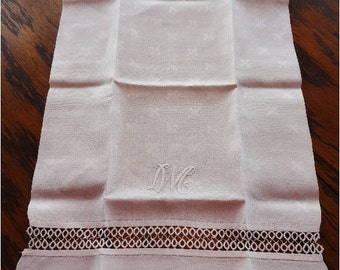 Gorgeous Vintage Damask Tea Towel with Tatting