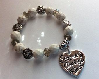 White Turquoise Serenity Stretch Bracelet