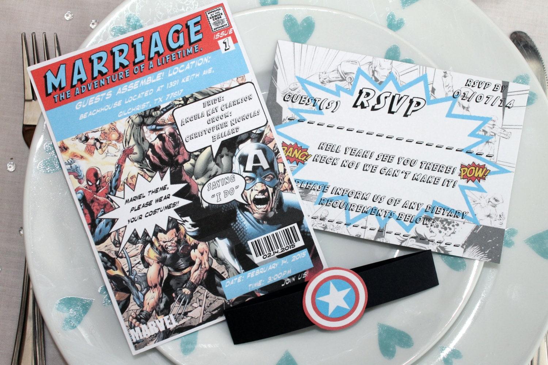 Marvel/DC Comic Book Wedding Invitation Set SAMPLE Marvel DC Comic Book  Wedding Invitation ...