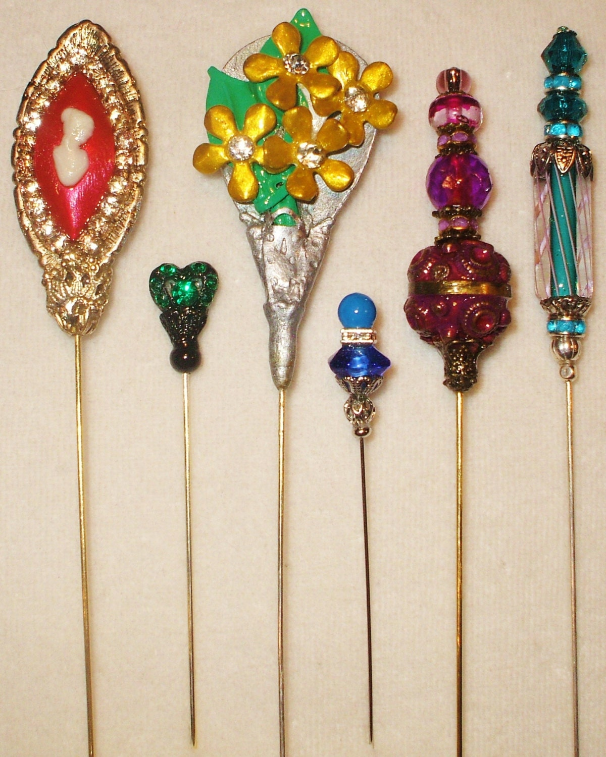 Victorian Hat Pins For The Old West Reenactor Or Steampunk: 6 Antique Style Victorian Hat Pins With By