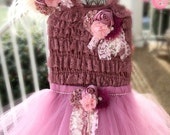 Vintage Romper Tutu Dress, mauve Pink tutu dress, baby headband, tutu set, photography prop, pageants, birthdays