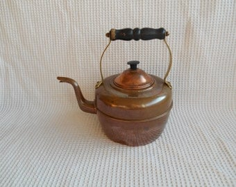 Copper Kettle Teapot Coffepot Cottage  Shabby Chic