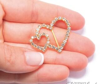 80pcs Rhinestone Slider Heart, Invitation Slider Wholesale Buckles Ribbon Slider DIY Wedding Bridal InvitationsMetal Buckle, Buckle 107-G