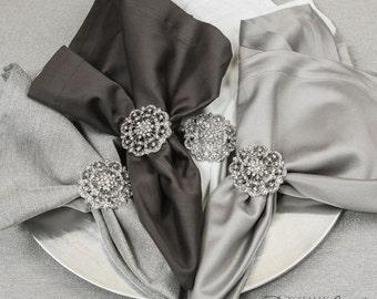 100pcs Napkin Rings, Rhinestone Wedding Crystal Napkin Rings Table Decor Wedding Bling, 412-S-N