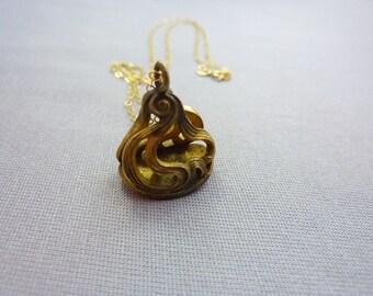 Fob Necklace Vintage Art Nouveau Brass Watch Fob Necklace