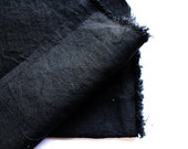 japanese pure linen fabric. medium weight linen. rudeback half worn out look. 110cm (43in) wide. sold by 50cm (19in) long / half yard. black