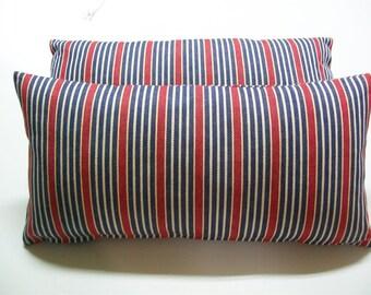 """Striped 8""""x16"""" Decorative Mini Pillow Cover- Red - Indigo"""