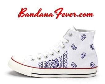 """Hi White """"OG Blue Bandana Sides"""" by Bandana Fever"""