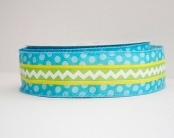 Spring Chevron Print Extra Wide 1.5in Wired Ribbon - 1 yd