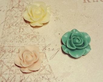 Set of Pastel Rose Decorative Magnets Green Pink Cream Roses