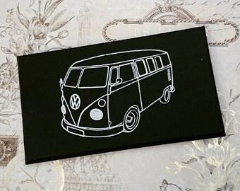 Volkswagen VW Camper Van Illustration Classic Car Wooden Hanging Sign Plaque Hand Painted Gift
