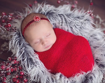 Newborn Baby Wrap in Red AND / OR Glitter Headband - newborns - photo shoots, new baby, shower gift, Christmas by Lil Miss Sweet Pea 7