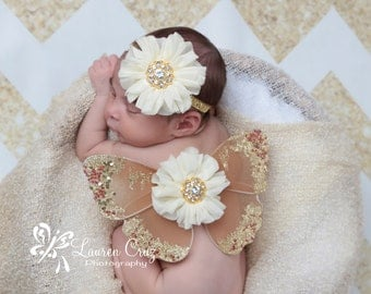 Brown and gold glitter wings, purchase headband only, wings only or the set - for newborn photos, photo prop, Lil Miss Sweet Pea