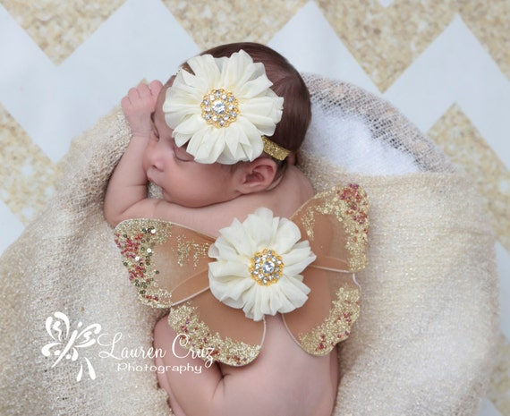 Brown and gold glitter wings, purchase headband only, wings only or the set - for newborn photos, photo prop, newborn photographers