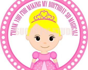 Instant download Princess 2.5 inch Printable Favor tags / cupcake toppers Digital File