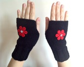 Valentine's Day Gift Felted Red Flower with Heart Button Black Fingerless Gloves - Knit Mittens - Teens Accessories - Fall Winter Fashion