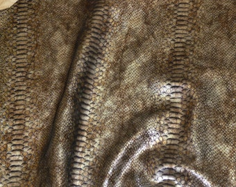 Metallic Leather 3 sq ft Mystic Python Distressed BROWN and a touch of SILVER on Black Cowhide PeggySueAlso™ E2868-19