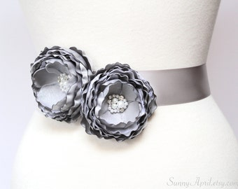 Gray Wedding Ribbon Sash/ Handmade Accessory